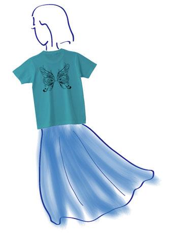 幻の蝶を求めて1-ハイビスカス柄-  Tシャツ