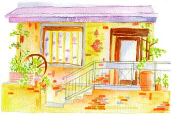 DMハガキイラスト(お茶屋さん、店、建物)
