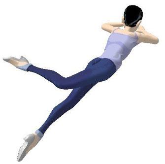 右足を上げ右腰を床から浮かせるように腰をひねり左足の上方へ