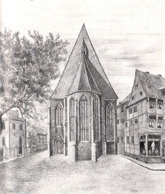 Chor der Paulinerkirche (nach älterer Zeichnung)