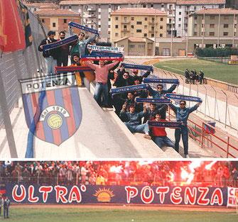 """Nella foto in alto, alcuni ragazzi appartenenti al gruppo """"Ultrà Potenza"""" con le sciarpe ben visibili dopo il derby con il Matera, nella foto in basso lo striscione del gruppo."""
