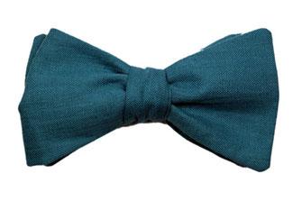 Herren Anzug Fliege türkis blau aus Leinen zum selbstbinden