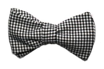 Herren Anzug Fliege zum binden in schwarz weiß kariert - Schleife