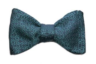 Herren Anzug Fliege zum binden - Schleife petrol blau grün edel mit tollem Muster