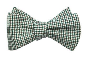 Querbinder Schleife Selbstbinder Fliege fabowlossi Bow Tie kariert handgemacht schottisch grün weiß beige