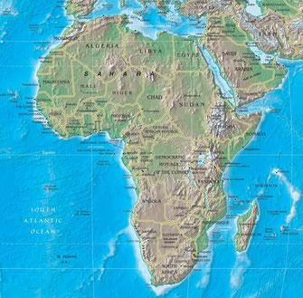 Africa. Mappa fisica