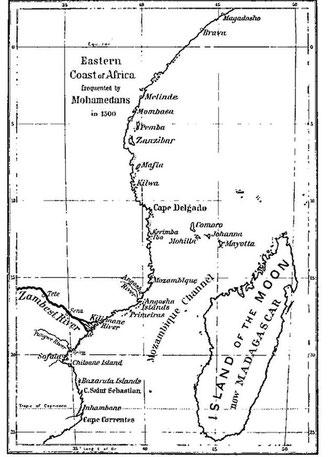 Principali città dell'Africa orientale, c. 1500. Il Sultanato di Kilwa ha tenuto la supremazia da Capo Correntes a sud, a Malindi nel nord.
