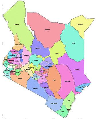 Kenya. Mappa Contee