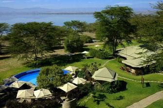 I lodges nella Soysambu Conservancy (tenuta Delamere) che si affacciano sul Lago Elmenteita