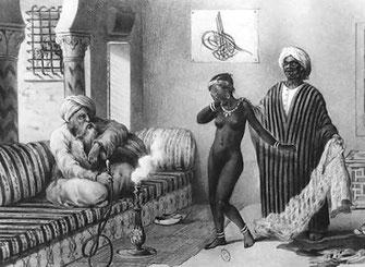Negriero offre una giovane schiava