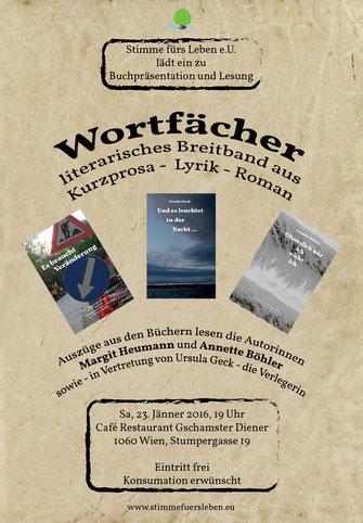 Buchpräsentation und Lesung am 23. Jänner 2016 in Wien