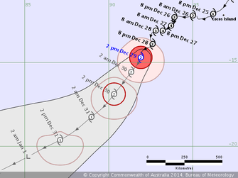Forecast path of Tropical Cyclone Kate, 28/12/2014, credit www.bom.gov.au.