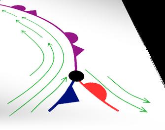 Abb. 2 | Okklusionspunkt (schwarz) mit Bodenfronten und Höhenströmung (grün). | Bild: Welt der Synoptik