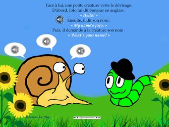 illustration pour enfant ou JoJo l'escargot parle en anglais avec un petit vers.