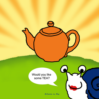 Image de la tante Betty, un escargot anglaise et une théière. Elle propose le thé en anglais.