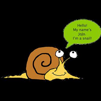 JoJo l'escargot montre que l'enfant est capable de se présenter en anglais.