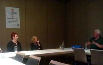 v.l.: Birgit Schmidl, Natascha Kohnen, Alfred Widmann; Foto: SPD