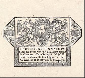 Reproduction de l'enveloppe du Tarot de Pierre Madenié par Yves Reynaud