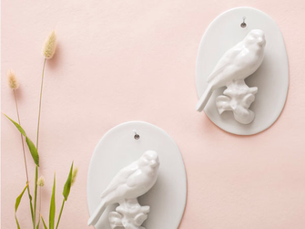 Wand Vogel Porzellan