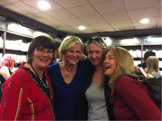 Jo and 4/5th of her critique group celebrating Tasha Kavanagh's (next to Jo) novel, Things We Have in Common.