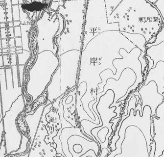 明治29年平岸村近郊図 豊平川が本流と支流に別れ、今の中の島が中洲だったことがわかる