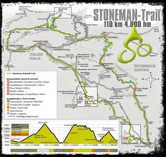 Karte vom Stoneman-Trail mit  Höhenprofil