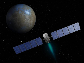Der Kleinplanet Ceres und die Raumsonde Dawn | Grafik: NASA