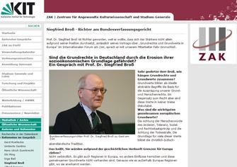 Bundesverfassungsrichter Prof. Dr. Siegfried Broß zu Gast am ZAK