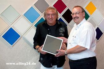 Geschäftsführung Bernhard Müller mit AMIGOS-Star Bernd Ulrich.