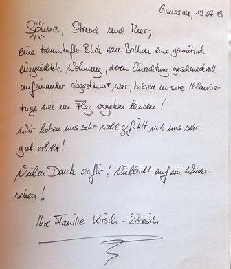 Gästebuch Eintrag Familie Kirsch-Eibisch 2019