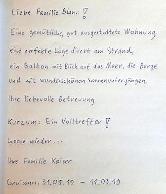Gästebuch Eintrag Familie Kaiser 2019