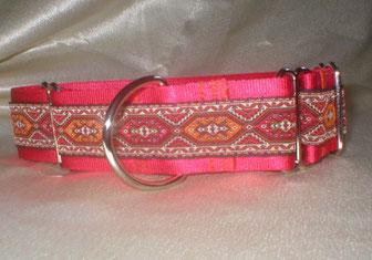 Martingale, Halsband, 4cm, Gurtband rot, edele Borte
