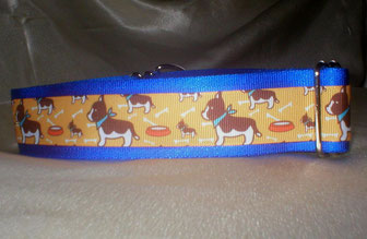 Zugstopp, Halsband, 4 cm, Gurtband königsblau, Borte mit Bulldog