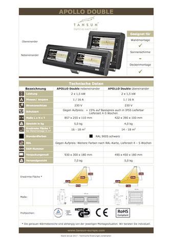 Datenblatt Infrarotheizung APOLLO  Double Werkstatt Heizung