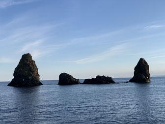 Italien, Sizilien, Aci Trezza, Sehenswürdigkeit, Hafen, Zyklopen Inseln, Isoli de Ciclopi
