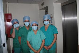 Alexia, Oceane, Clementine et Laura ont pu visite le bloc operatoire
