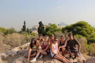 Photo de groupe du haut de la colline des Muses