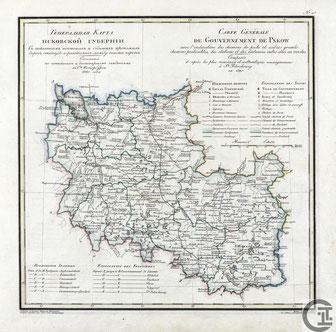 Generalkarte (französisch - kyrillisch) Gouvernement Pleskau, Pskow, Pskov - Russland (1820), Quelle: Wikipedia