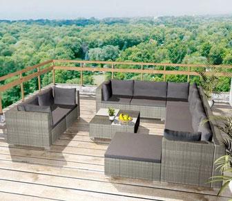 soggiorno #divano #giardino #poltrona #rattan #grigio