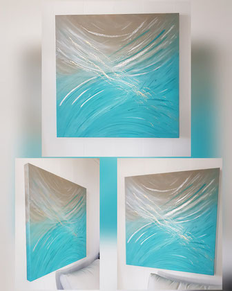 oeuvre en acryl Energie abstrait, turquois et sable, Nr 3, taille 80 x 80 x4.5 cm