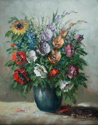 Verschiedene bunte Blumen in Vase - Stillleben-Öl Gemälde