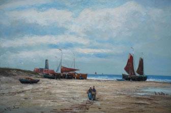 seefahrt und schiffs gemälde - am strand - fischer mit booten