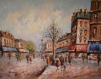 Stadtszenerie aus Paris - bunt impressionistisch mit Öl gemalt auf Leinwand
