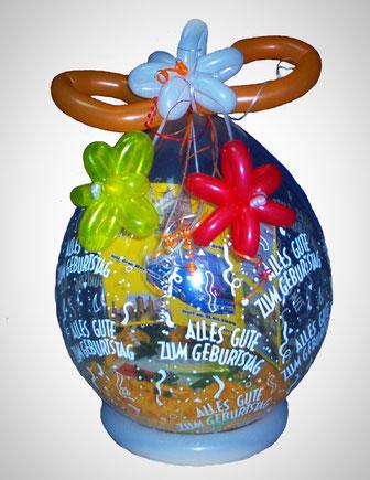 Wunderschöner Geschenkballon, ein dekoratives Geschenk zum verpacken von Geldgeschenken, Gutscheinen oder Eintrittskarten