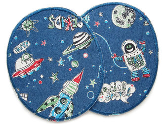 Bild: Knieflicken zum aufbügeln mit Raketen, Ufos und Robotern im Weltraum, Hosenflicken Weltall Astronaut Rakete Bügelflicken