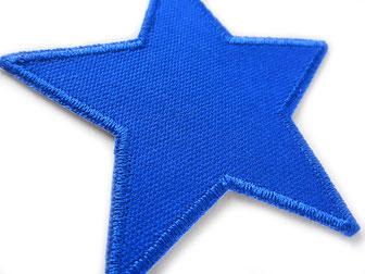 Bild: Stern Aufnäher zum aufbügeln, Hosen nachhaltig reparieren, Hosenlöcher mit Flicken blau reparieren
