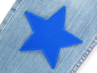 Bild: blauer Stern Flicken zum aufbügeln aus Canvasstoff, Canvas Hosenflicken blau für Kinder