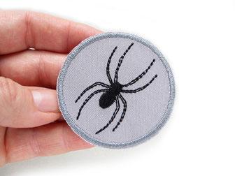 Bild: Spinne Aufbügler, gestickter Spinnen Patch zum aufbügeln grau
