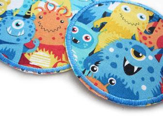 Stoff Bügelflicken mit bunten Monstern, Hosenflicken Monster zum aufbügeln für Kinder