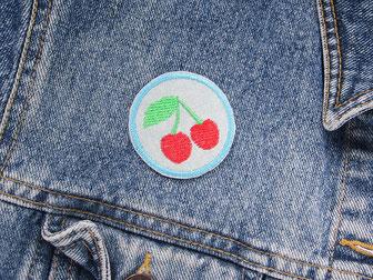 Bild: Kirschen Bügelbild Jeansflicken, Bügelflicken für Löcher in Jeansjacken, Flicken zum aufbügeln rote Kirsche